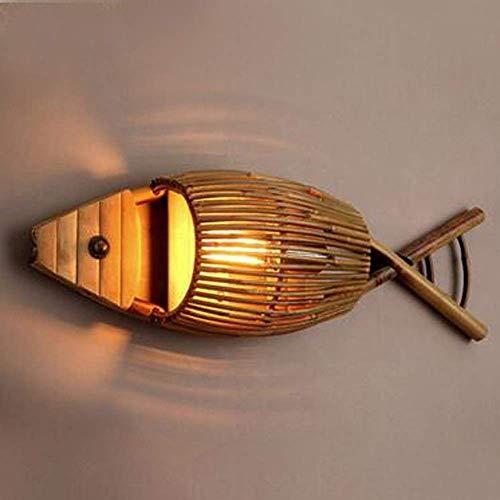 Alvnd wandlamp van antiek Chinees hout handgemaakte wandlamp bamboe vis wandlamp wandlamp gang koffie decoratie restaurant lamp