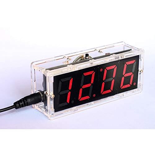 DIY Kit rote LED elektronische Uhr Mikrocontroller Digitaluhr Zeitthermometer mit sprechender Uhr und PDF