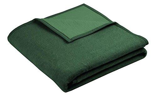 biederlack Uni Wolldecke Kuscheldecke Wohndecke 150 x 200 cm Unidecke Aspekt dunkelgrün/grün
