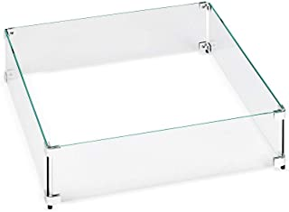 """American Fireglass Tempered Glass Flame Guard for 12"""" Square Drop-in Fire Pit Pan"""