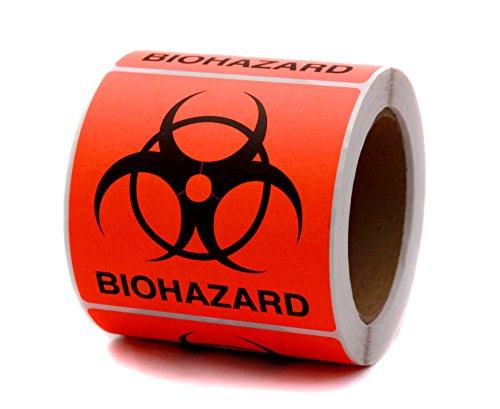 ChromaLabel 4 x 4 Inch Fluorescent Red-Orange Biohazard Warning Stickers, 250 Labels per Roll