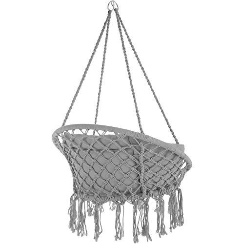 TecTake 800708 Hängesessel zum Aufhängen, Indoor und Outdoor, Ø Sitzfläche: ca. 60 cm, robuste Konstruktion, inkl. großem weichem Kissen – Diverse Farben – (Grau | Nr. 403204) - 4