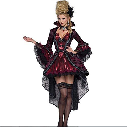 HZH Disfraz de Vampiro de Halloween, Vestido Maxi de Reina, Cosplay de Reina Reina de Fantasmas Escarlata, Disfraz de Zombie de Bruja de Gran tamaño,Rojo,M