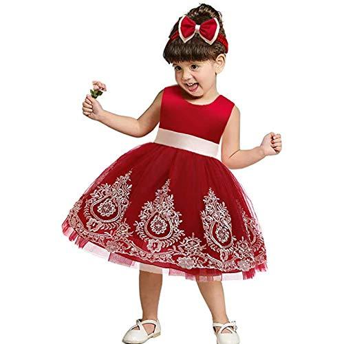 Baby Mädchen Ärmellos Princess Kleid Blume Spitzenkleid Bowknot Gestickte Ballkleid Blumenmaedchenkleid Tutu Kleider Geburtstag Partykleid Taufkleid Kinder Festliches Formelles Festzug Abendkleid