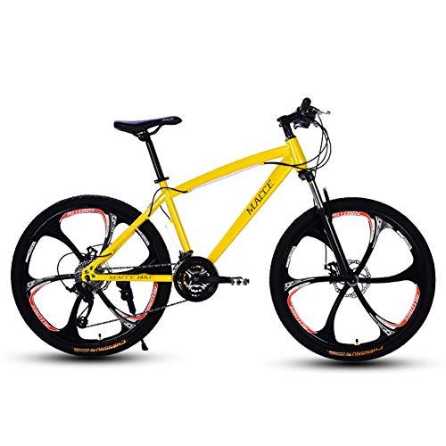 YJTGZ Bicicleta Junior Bicicleta De MontañA Estudiantes De Velocidad Variable con Freno De Disco De Carreras De Doble Choque para Hombres Y Mujeres Adultos De 24 Pulgadas Y 24 Velocidades(Yellow A)