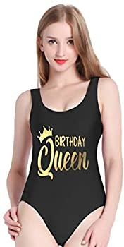 PINJIA Cute One Piece Swimsuit with High Cut and Low Back for Women Bathing Suits XL Gold Black Birthday Queen