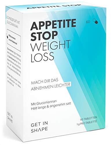 APPETITE STOP Glucomannan Appetitzügler (60 Stück) - Abnehmen schnell und einfach mit Abnehmtabletten aus der Konjakwurzel und Chrompicolinat, hochdosiert, vegan von Get In Shape