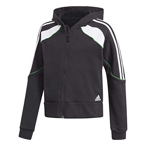 adidas G Bold FZ HD Sudadera con Capucha, Black/White/Core Green, 9 años para Niñas