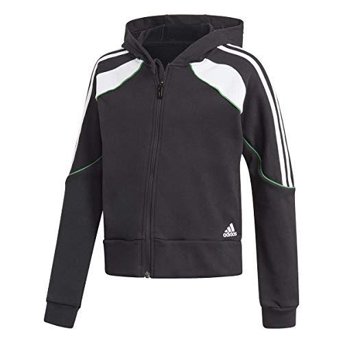 adidas G Bold FZ HD Sudadera con Capucha, Black/White/Core Green, 11 años para Niñas