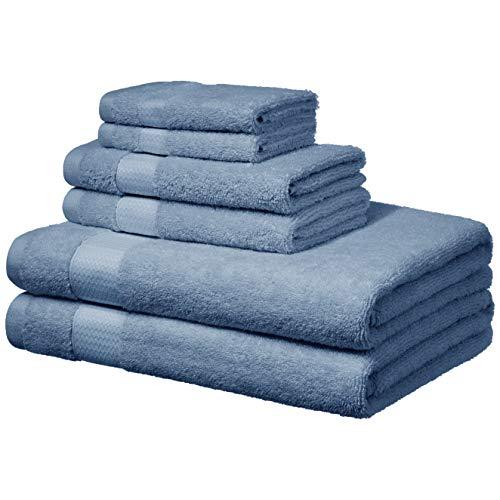 Amazon Basics - Handtücher für den Alltag - 2 Badetücher, 2 Handtücher und 2 Waschlappen, Kornblumen-Blau