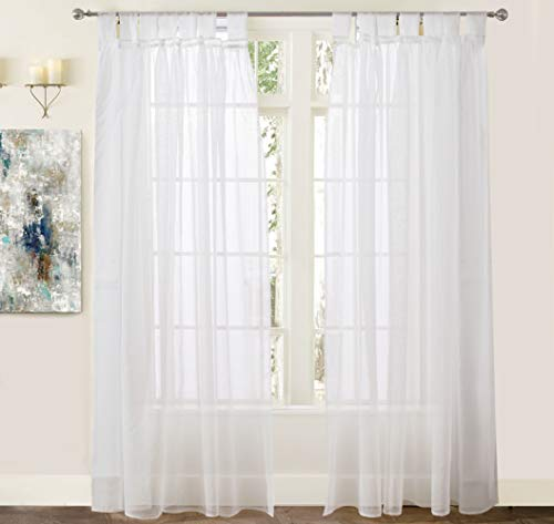 DriftAway Vintage Ruffle White Solid Sheer Curtain Faux Linen Texture Tab Top Window Voile Panel for Bedroom Living Room Kids Room 2 Panels Each 50 Inch by 84 Inch Off White