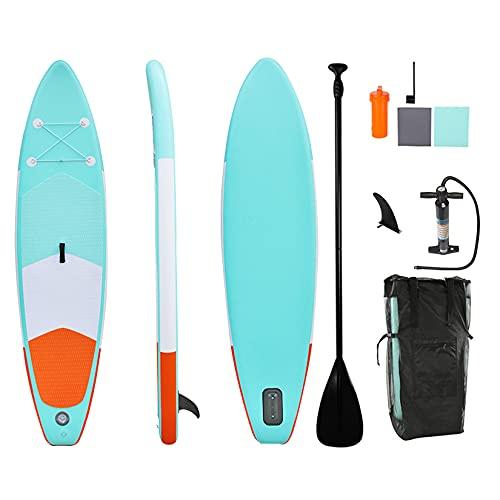 HENGGE Tablero De Paleta De Pie Inflable (6 Pulgadas De Grosor) con Accesorios Sup De Transporte, Control De Surf, Barco De Pie para Jóvenes Y Adultos,Light Blue