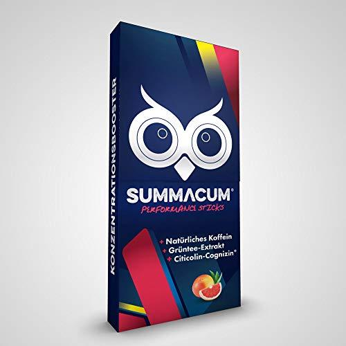 SUMMACUM® / Konzentrationsbooster mit 100% natürlichem Koffein und Grünem Tee / Mit Acetyl-L-Carnitin und CDP-Cholin-Cognizin® + Vitamin B5 / 30 Sticks