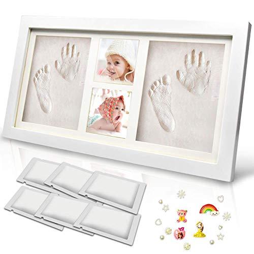 Tenquan Baby Handabdruck- und Fußabdruck-Kit, Baby-Holz-Bilderrahmen mit Gipsabdruck, Hand- und Fußabdruck-Gussset mit 6 Packs Ton - Geschenk für Neugeborene, Babys