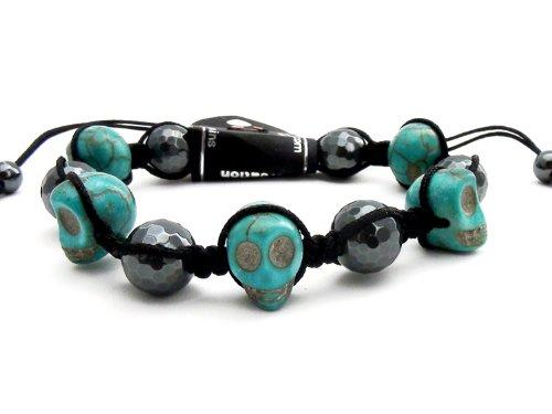 Agathe Creation–Pulsera shamballa–piedra color turquesa–cuentas de hematita y brillantes Chrystal–turquesa y gris negro–talla sobre medida–hecho a mano