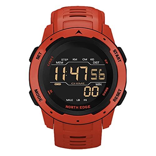 Reloj Multifuncional al Aire Libre Deportes Inteligentes Muñeca Digital Reloj de natación a Prueba de Agua 50M Calorías Podómetro retroiluminado Relojes Militares de montañismo para Hombres (Red)