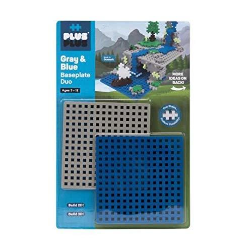 Plus-Plus 9603840 Geniales Konstruktionsspielzeug, Grundplatte, Basisplatte, grau und blau, 2 Teile