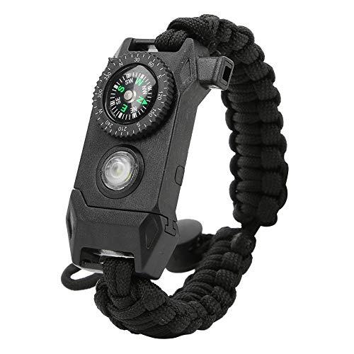 Pulsera de Emergencia Paracord Emergencia Aire Libre 6en1, Incluye Linterna Led SOS, Brújula, Pedernal, Silbato de Rescate y Cuchillo Supervivencia