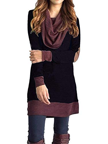 Sunfung Women's Casual Long Sleeve Tops Cowl Neck Two Tone Color Block Pullovers Elbow Patchs Loose Long Tunic Blouse (Black, XX-Large)