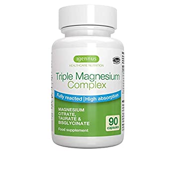 Triple Magnesium Complex High Absorption Taurate Glycinate Citrate Chelate for Stress Sleep Migraine Vegan Pure & Oxide-free 90 Capsules By Igennus