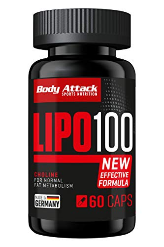 Body Attack Lipo 100 - extrem hochdosierte Formel zum abnehmen + Diät, fördert den Fett-Stoffwechsel mit Lipocholin, Koffein, Grüner Kaffeebohnen Extrakt & Synephrin, Made in Germany, 60 Kapseln