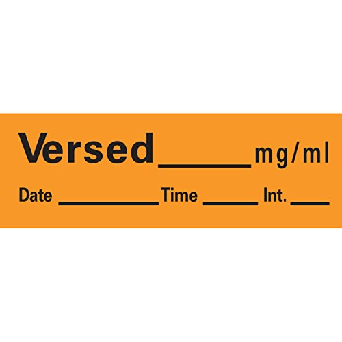 PDC AN-149 Anesthesia Removable Tape with Date, Time & Initial, Versed Mg/Ml, 1/2