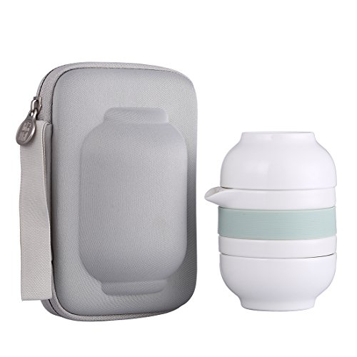 ONEISALL Portable Tea Set 2 Clear Glass Cups Teapot with a Portable Travel Bag for Travel Outdoor Picnic