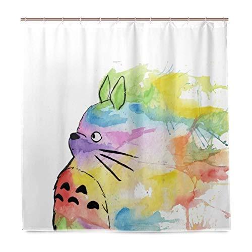 N/A My Rainbow Totoro Duschvorhang 183 x 183 cm mit 12 Haken