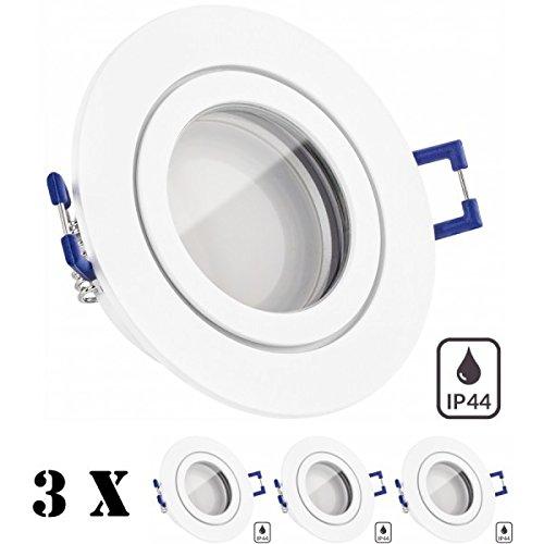 3er IP44 LED Einbaustrahler Set Weiß matt mit LED GU5.3 / MR16 Markenstrahler von LEDANDO - 5W - warmweiss - Feuchtraum/Badezimmer - LED Spot 5 Watt - Spritzwasserschutz