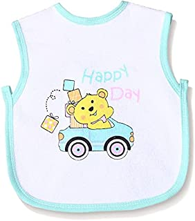 Jocky Bear-Print Back-Tie Baby Bib - White and Green