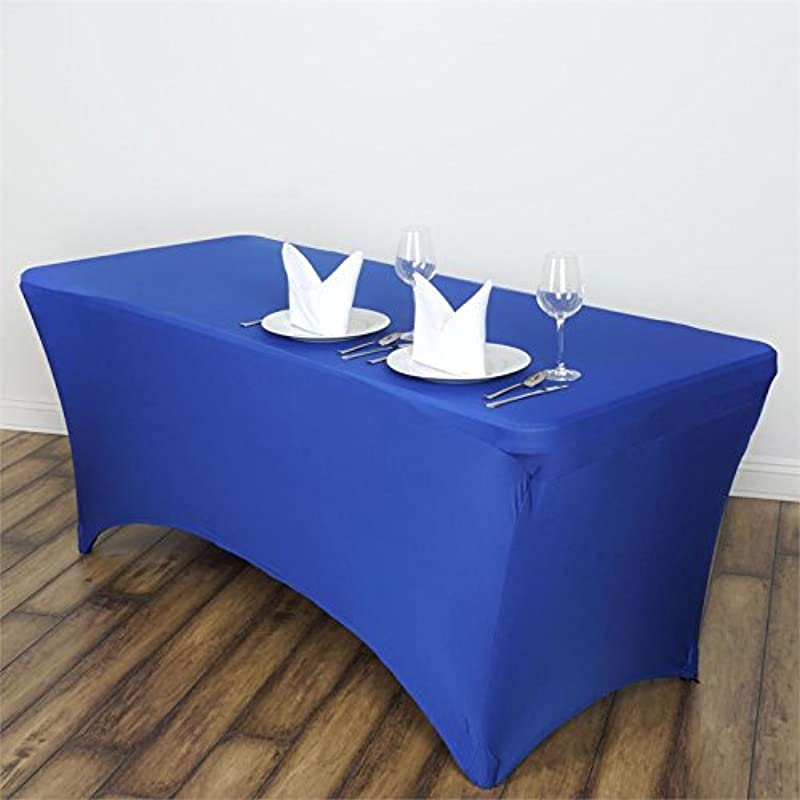 Efavormart 5 FT Fitted Royal Blue Rectangular Stretchy Spandex Tablecloth For Wedding Party Tradeshow Decor Decoration