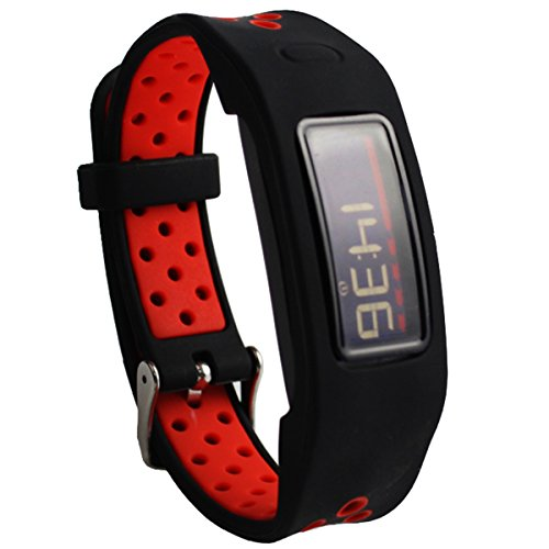 Elespoto Colorful Replacement Wristband Strap for Garmin Vivofit 2 with Clasps Fitness Bands Suitable to Not for Garmin Vivofit 1Vivofit 3 Black Red
