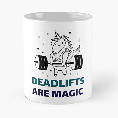 Desconocido Heavy Deadlifts Workout Gym Magic Unicorn Lifting Weights Taza de café con Leche 11 oz