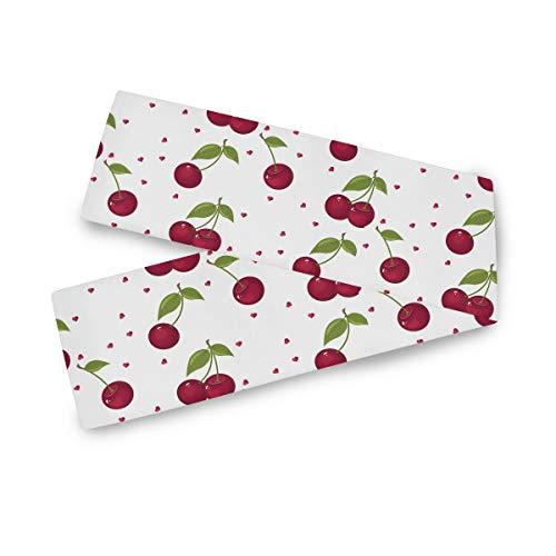 TropicalLife F17 - Camino de mesa rectangular con diseño de frutas y cerezas, 33 x 177 cm, poliéster, para decoración de boda, cocina, fiesta, banquetes y cenas, mesa de centro