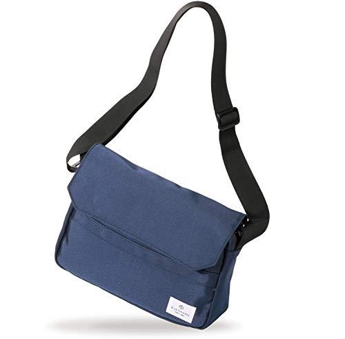 BLUE SINCERE 収納士監修 ショルダーバッグ メンズ 斜めがけ ワンショルダー スキミング防止 バック カバン キャンバス 軽い 8つの収納ポケット SHB1 (ネイビー)