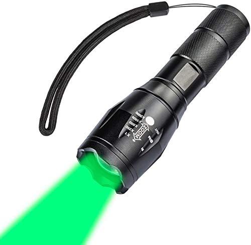Linterna LED Antorcha de Caza con Luz Verde, Linterna con Zoom de 600 Lúmenes y 5 Modos, LED Linterna Impermeable Coyote Hog Fox para Exteriores (Batería no Incluida)