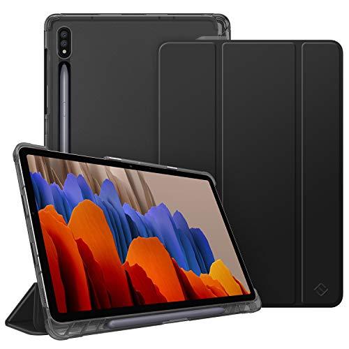 Fintie Hülle für Samsung Galaxy Tab S7 11 2020 - Silm Schutzhülle mit transparenter Rückseite Abdeckung Cover, Auto Schlaf/Wach Funktion für Samsung Tab S7 SM-T870/875 Tablet, Schwarz