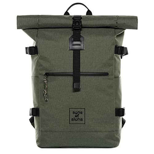 XL Rucksack Kane Roll-Top Kurierrucksack - Recycled PET, wasserabweisend - Wander-Rucksack Laptop-Fach 15 Zoll grün-Olive
