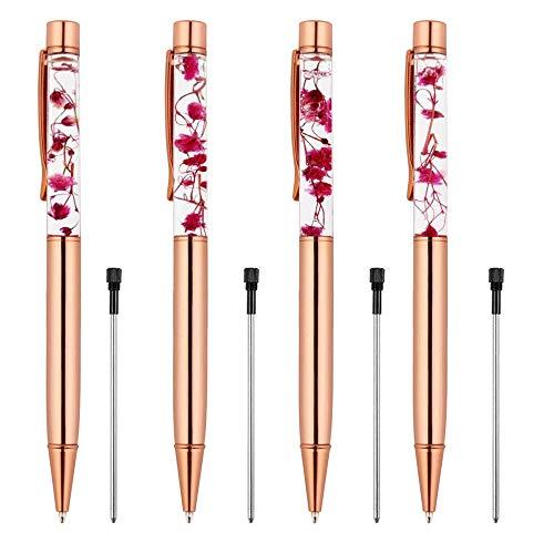 Rose Gold Ballpoint Pen,4 Pieces Metal Ball Pens Dynamic Liquid Flower Pen Black Ink Pen Refills for Office Rose Gold Desk Supplies