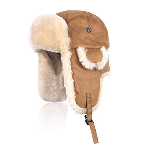 IKEPOD Shearling Schaffell Trapper Hüte - Unisex Wintermütze Bomber Hut mit Ohrenklappen für Männer Frau, Russischer Uschanka warme Bombermütze Fliegermütze