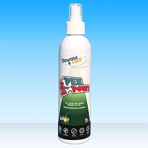 Ozwald & Cleo Pee Point Dog Potty Spot Training Spray | Effective Training Aid Formula for Puppies | Pet & Kid Safe | Great for Use On Pee Pads Or Outdoors