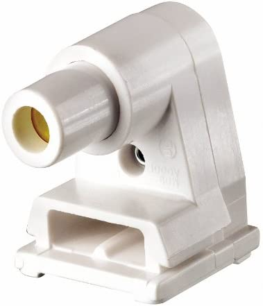 Leviton 2536 104-0-000 Pedestal Lamp Holder with Plunger, 660 W, Fluorescent, Slim line, Thermoplastic, White