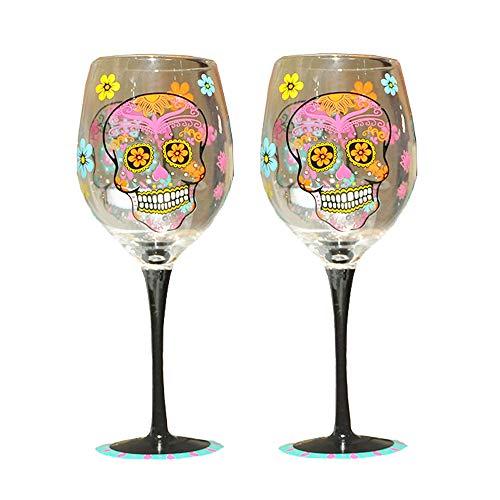 Sungmor Weingläser, 340 ml, handbemalt, mit einzigartigem Muster, Geschenk, Kelch, Rotweinglas, Totenkopf, 2 Stück