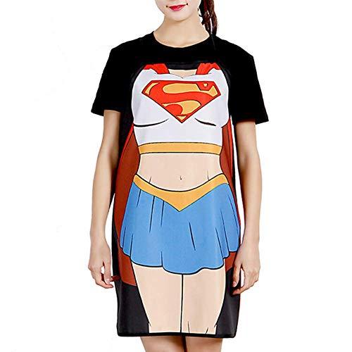 Ducomi Superhero – Tablier de cuisine pour homme, femme et enfant – Réglable, mélange coton, longueur 72 cm, impression sexy, amusante, vintage et classique – Cadeau homme femme (Superwoman)