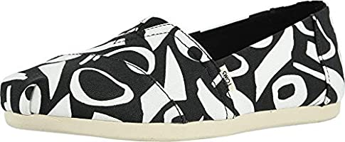TOMS Women's Abstract Print Canvas Classics Ft. Ortholite Espadrilles, 38 EU, Black/White