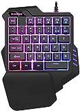 Teclado para juegos Elegante teclado portátil con una sola mano colorido juego retroiluminado for no mecánica Coma pollo Teclado Móvil Universal Computer Mini Teclado para juegos + ultrafino, duradero
