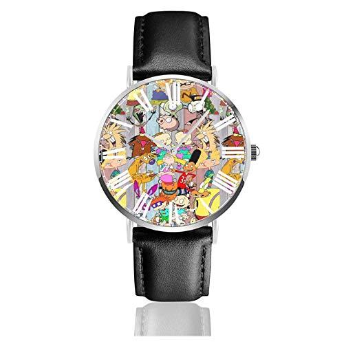 Reloj de Pulsera Rugrats Durable PU Correa de Cuero Relojes de Negocios de Cuarzo Reloj de Pulsera Informal Unisex