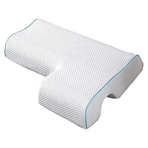 Almohada para parejas con agujero en el brazo arqueado, almohada de espuma viscoelástica, para reposabrazos, soporte cervical para el cuello, almohada antipresión, tencel, lado derecho