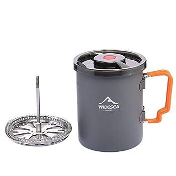 Widesea Cafetière de camping avec cafetière à piston pour extérieur, randonnée, trekking, camping (couleur : gris)