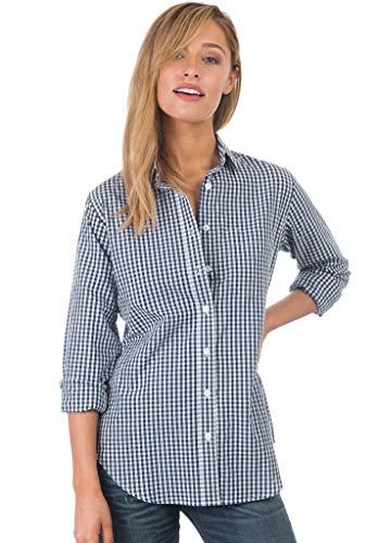 CAMIXA Damen Trachtenbluse Langarm Karierte vielen Farben 100% Baumwolle Klassisches Blusen L Blau Micro Blu